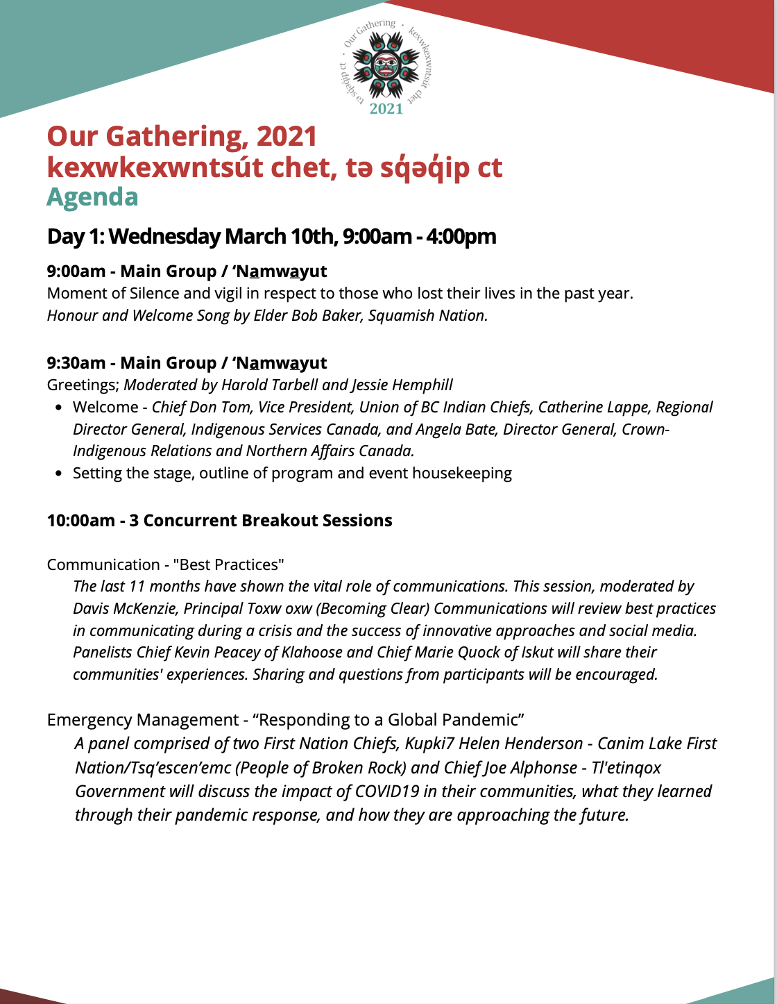 Our Gathering March 10th and 11th Agenda